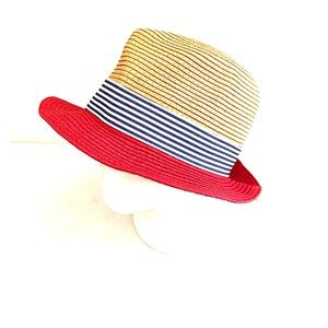 D&Y | Striped Panama Paper Straw Fedora Hat